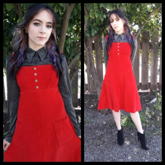 6d47f40a8efe Amazing vintage 70's red corduroy pinafore jumper!  M_5aa020943a112e9ecef412a2. Other Dresses ...